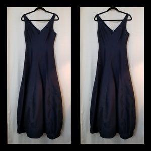 Halston Heritage Blue Long Bubble Bottom Dress 4